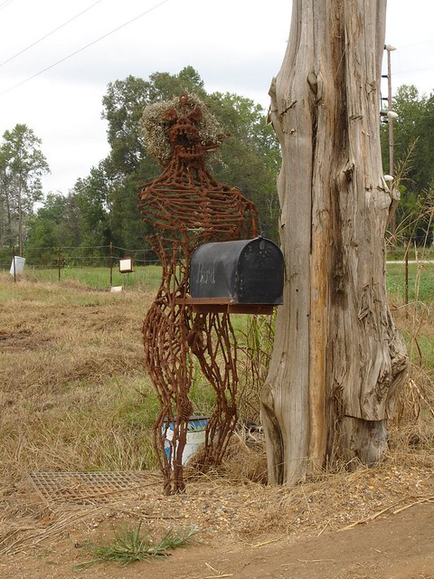 Creepy Mailbox at Jim Bird's Hay Creations, Forkland AL