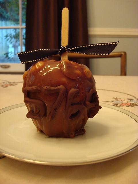 Caramel Apple with Chocolate Writing