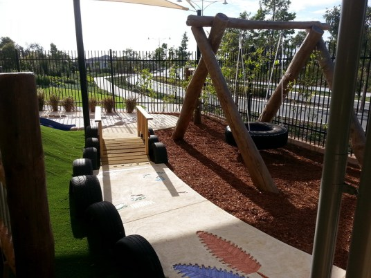 Swing and track in a nature playground