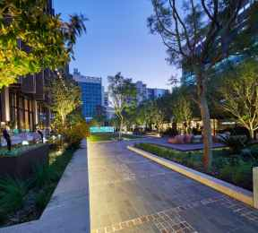 Westin hotel courtyard in the evening