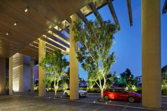 Westin hotel drive with trees