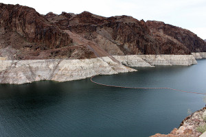 Declining water levels in Lake Mead have created its trademark 'bathtub ring' around the edge of the reservoir. Bill and Vicki T/Flickr
