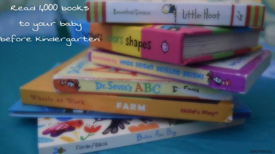 Read 1,000 books to your baby before Kindergarten. Seen in the picture are the books: Little hoot, Colors and shapes, Inside outside upside down, Dr. Seuss's ABC, Wheels at work, Bears are big