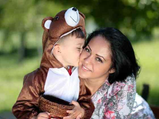 Hug Teddy Bear Kiss Family Son Love Mom