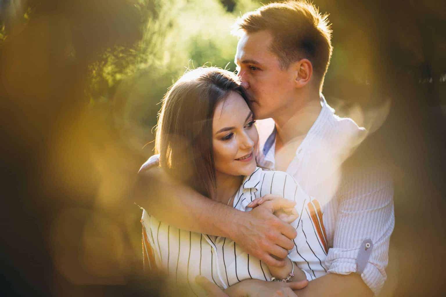 Couple in love in park