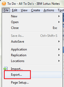 Exporting from Lotus Notes