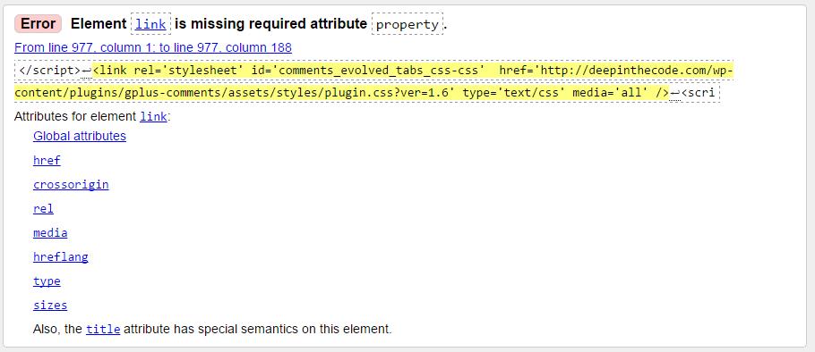 HTML5 validator error