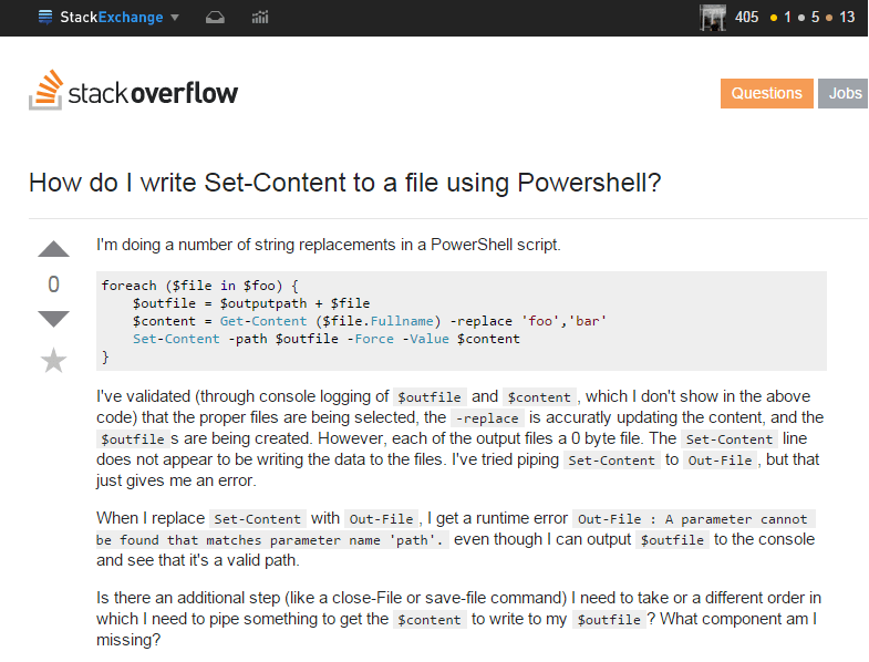 Stack Overflow PowerShell question
