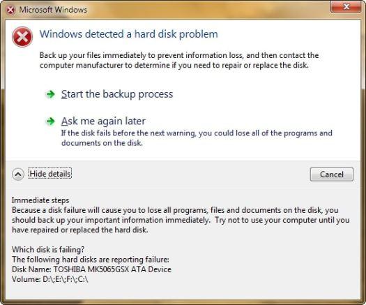 Windows 7 imminent HDD failure