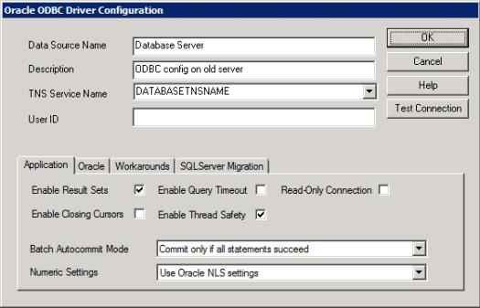 ODBC config on old server