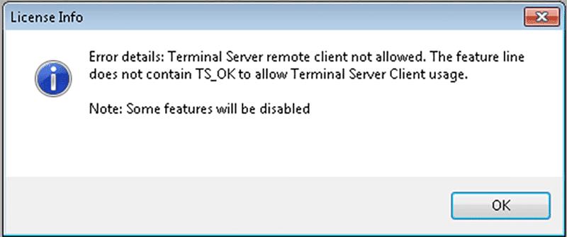 Terminal Server remote client not allowed dialog box