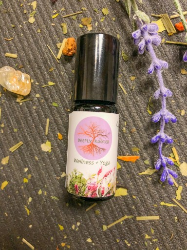 custom essential oil blend Deeply Rooted Wellness + Yoga in 10ml biophotonic glass