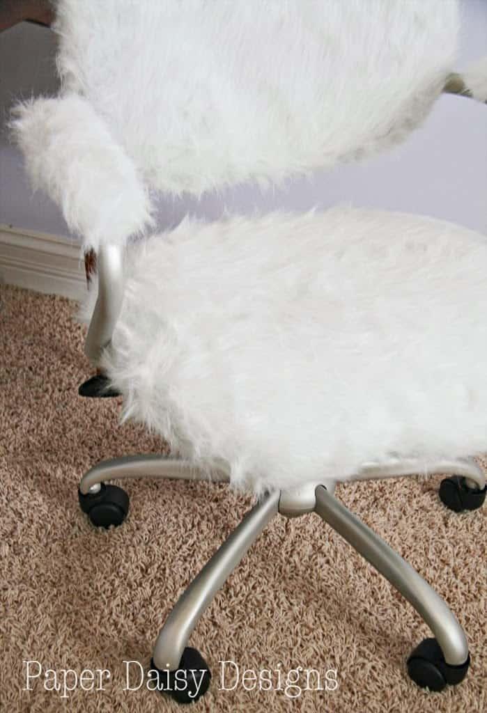 fluffy desk chair wheelchair design furry pottery barn hack