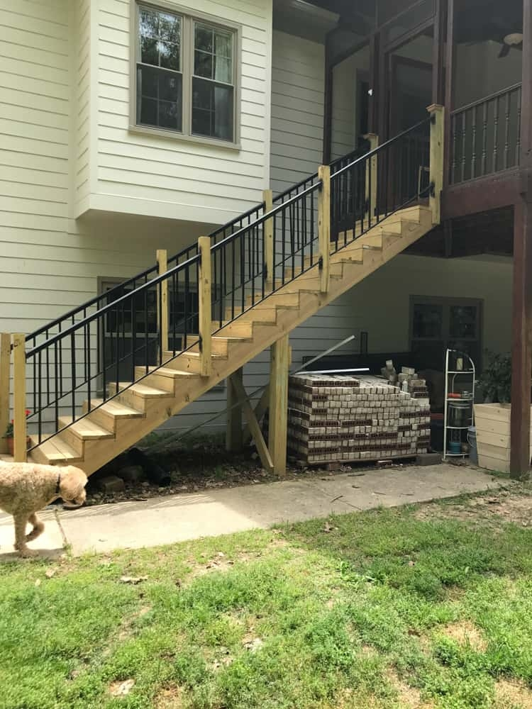 How To Paint A Porch Deeplysouthernhome   Pressure Treated Wood Stairs   L Shaped   Exterior   Timber   45 Degree Stringer   8 Foot