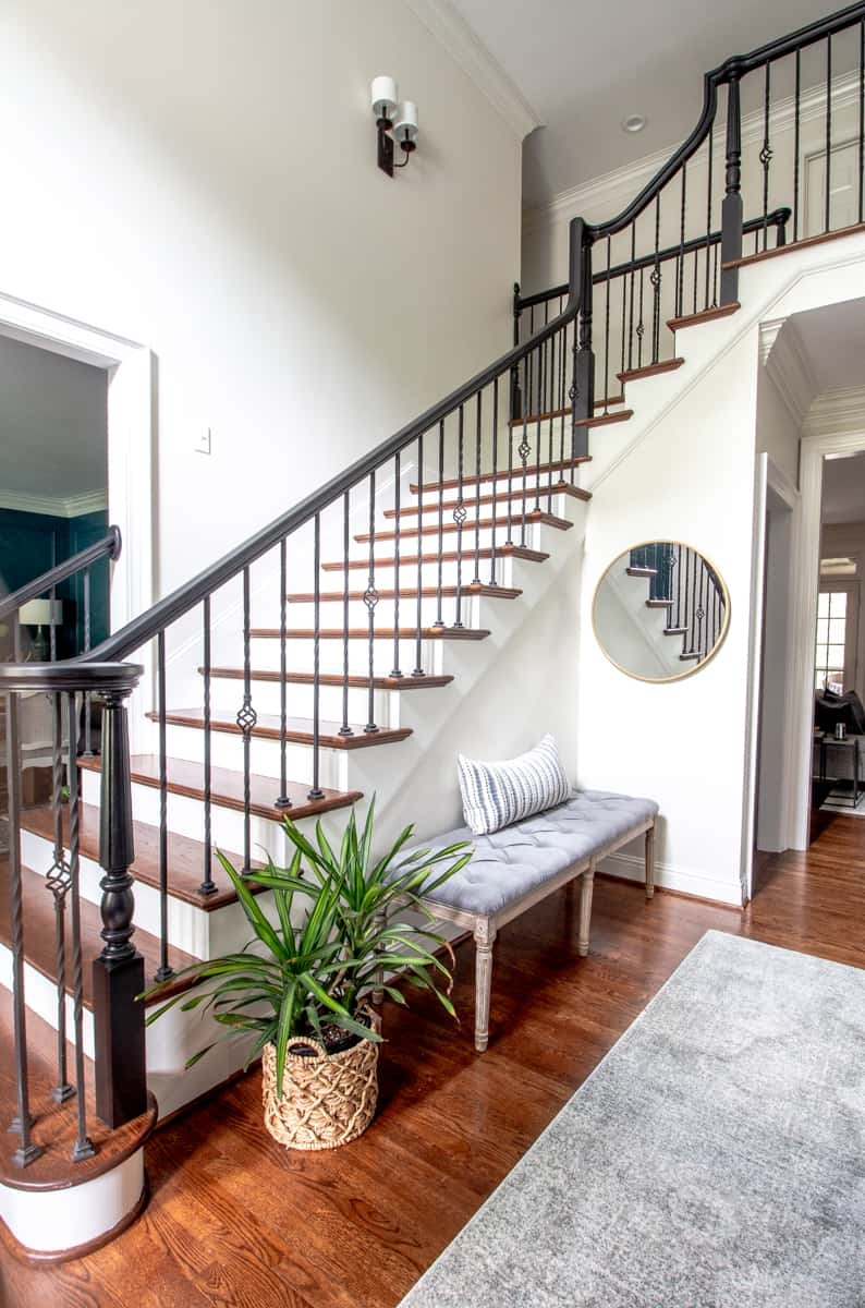 Paint Handrail Stair Risers And Trim Perfectly Every Time | Handrails For Stairs Interior | Staircase Handrail | Rectangular Tube | Residential | Barnwood Rustic | Industrial