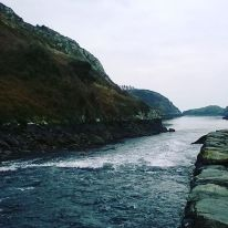 The Rapids at Lough Hyne located at the SE entrance of the lough, leading into Barloge Creek. The reconstructed Famine Wall, originally built in the 1850's is also visible along the western side of the constriction
