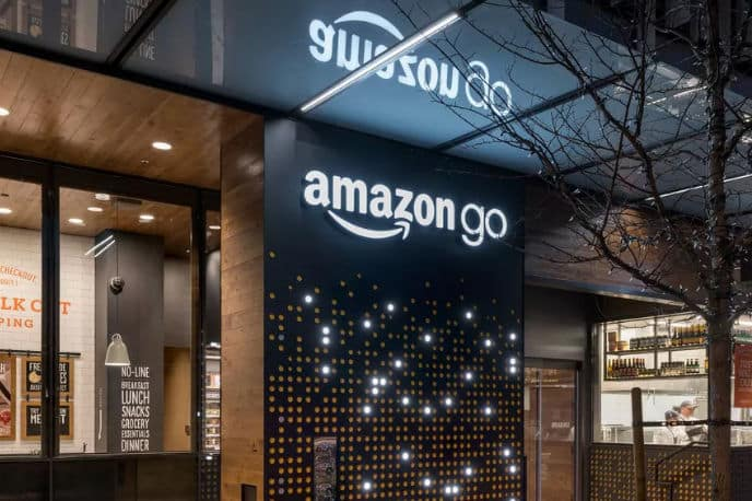 Automatic cash registers at Amazon Go.