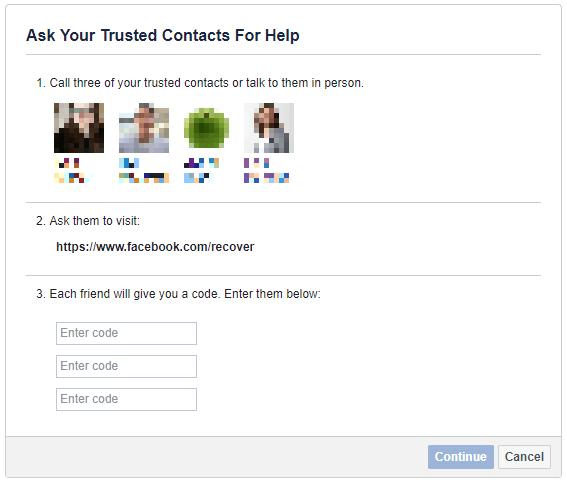 استرداد حسابك على فيسبوك