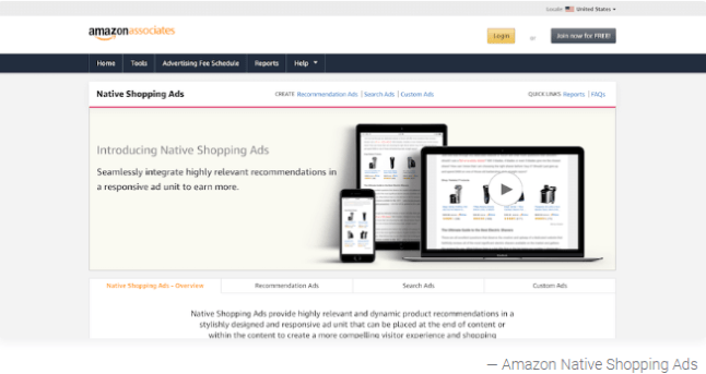 3. Amazon Native Shopping Ads