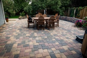 Overview of paver patio and landscape