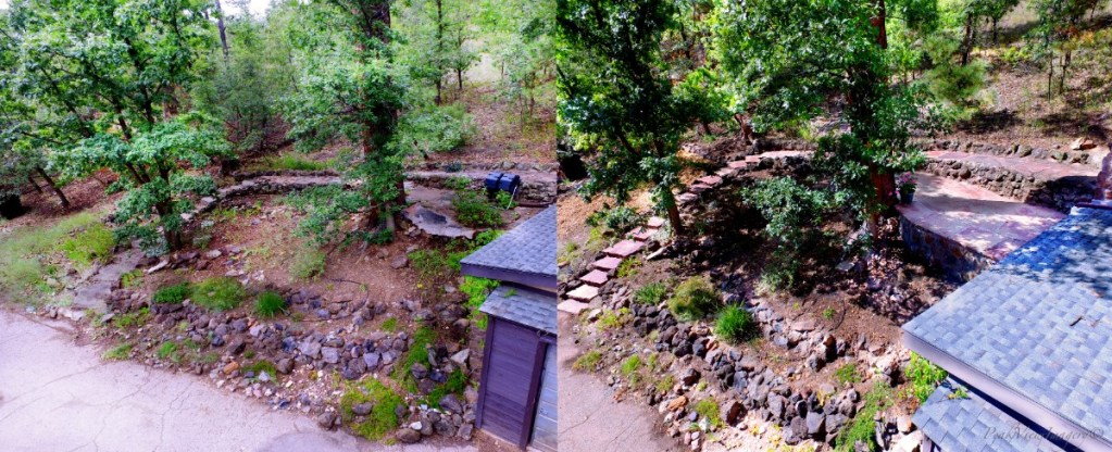 Before and after picture of the locally harvested chocolate flagstone steps, walkway, and patio. Retaining wall was constructed to keep patio secure, as the original patio deteriorated into the hillside over decades.