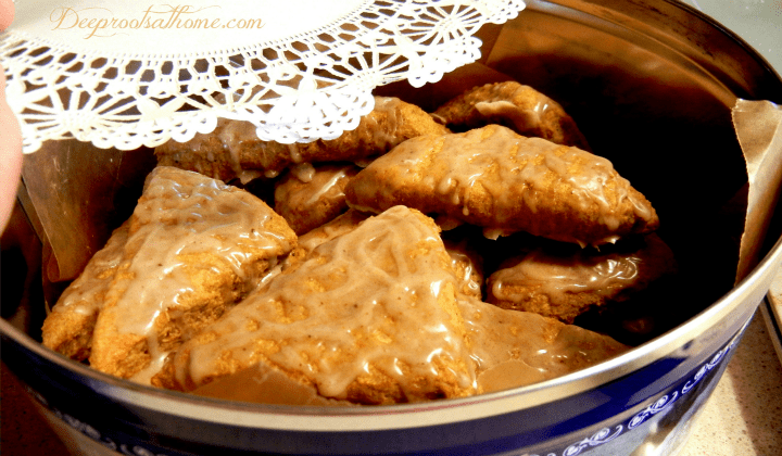 Better-Than-Starbuck's Pumpkin Scones Recipe and Tutorial, fall treat, standing in line, Bon appétit!, keeper at home, baking, family time, mealtime, fellowship over a meal, homemaking, DIY, homemade, aroma, smell heavenly, gift, dessert tin, Currier and Ives metal tin, fall spices, Sweet Peas Kitchen, gift giving, cookie exchange, spice icing, spiced glaze, light and fluffy scones, cutting scones, Trader Joe's, organic, pumpkin puree, ginger, cinnamon, cloves, nutmeg, hot spiced chai, coffee companion, dunking pastry, coffee break, doily, Currier and Ives metal tin,