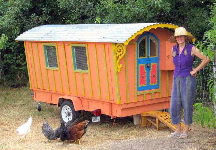 What Is A Chicken Tractor and Thoughts On Having Chickens, gypsy wagon, chicken tractor, cheery yard ornament, recycled wagon base