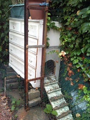 What Is A Chicken Tractor and Thoughts On Having Chickens, old country chicken coop out of a recycled chest of drawers, small flock to roost at night