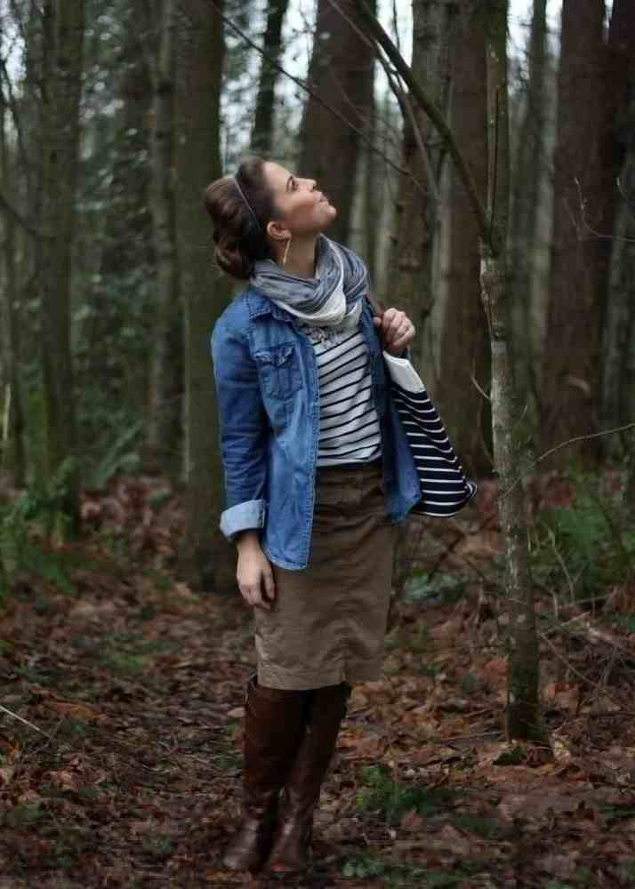 woman on walking trail, modest clothing, hiking attire