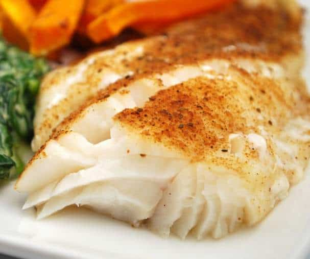 Baked Cod with Dill or Old Bay: Powerhouse Of Nutrition, easy entree, cod fillets, cod steaks, nutritious, high in tryptophan, selenium, protein, vitamin B6, phosphorus, vitamin B12, potassium, vitamin B3, omega-3 fat, nutrients in cod, health benefits, heart healthy, lower triglycerides, control or lower blood pressure, substantial protection against heart attack, cold water fish, deep Arctic waters, fresh dill, dill weed, flavor, lemon dill butter, recipe, tender filets, don't overcook, Old Bay, New england favorite, fish, fish without preservatives