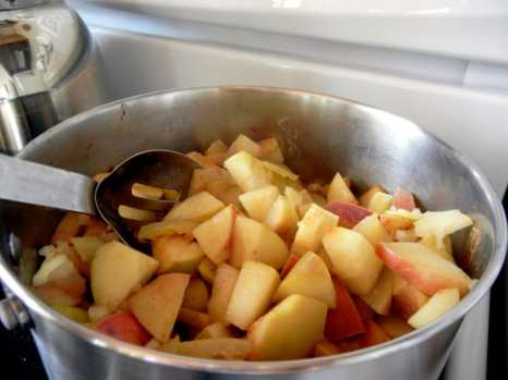 Cinnamon Apple Butter: Old-Fashioned Chunky Style & Gluten-Free, Pixie apples, Orange Pippin.com, book, gluten-free, artisan bread, braided loaf, whole wheat, cinnamon, childhood memories, spices, cloves, baking with mother, fall treats, homemade, fresh baked braided artisan bread, cutting apples with the skin on, Pixie apple, cooking apples on the stove, cooking apple butter, stovetop, spices, tart pie apples