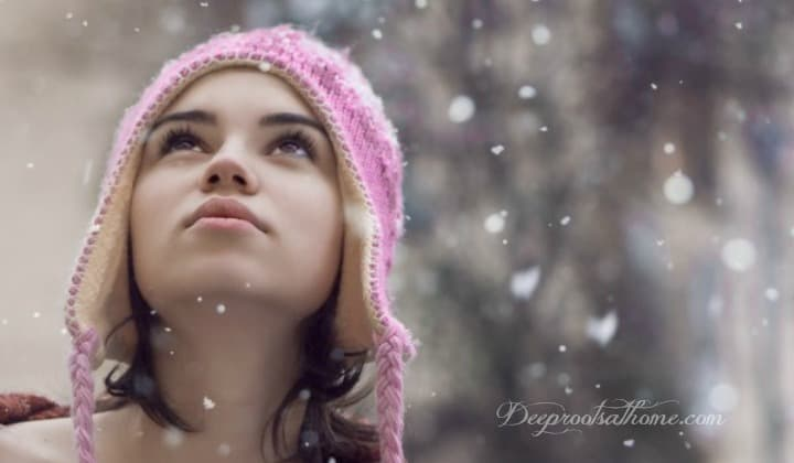 Winter's Hidden Beauty~ The Snowflake, girl in pink hat, snowfall, snowflakes, looking up