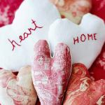 Valentine hearts, hand stitched, toile fabrics,