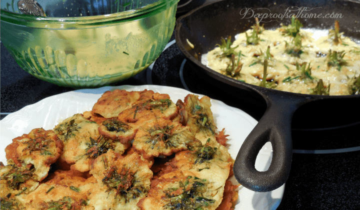 Dandelion Fritters and Greens: A Strengthening Spring Tonic, making batter, frying dandelions, cast iron skillet cooking, golden brown fritters, pancakes