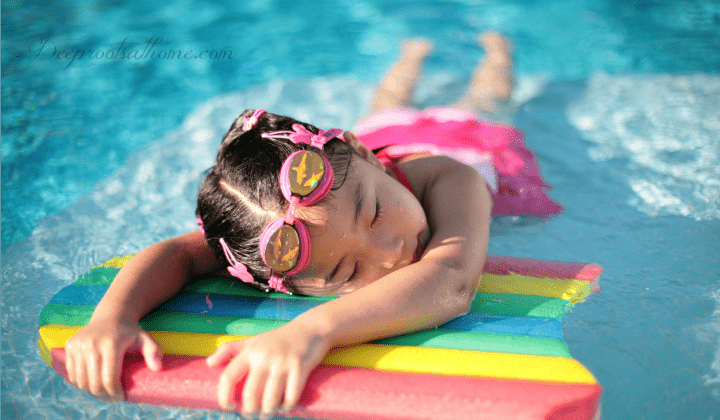 Protect Your Hide: 9 Of The Safest Sunscreens For Kids (& You), Protect Your Hide: 9 Of The Safest Sunscreens For Kids (& You), sun damage, concerns, PABA,para-aminobenzoic acid, Vitamin A, oxybenzone, hormone disruptor, mineral based sunscreen, chemical sunscreen, titanium dioxide, zinc oxide, UVA, UVB protection, harmful chemicals, baby's skin, child's skin, skin cancer, melanoma, protect from sun, cover up, Environmental working group, cancer risk, American Academy of Pediatrics, SPF numbers, skin damage, wrinkles, products, kid-safe, reef-safe,Chemical-free, Paraben-free, petroleum-free, Fragrance-free, PABA-free, top picks, Raw Elements, Non-nano, best ingredient award, water-resistant, Badger,Hypoallergenic, Reef Safe, Gluten free, Cruelty free, Vegan, Non-GMO, water play,little girl lying in the sun on a raft, suntanning