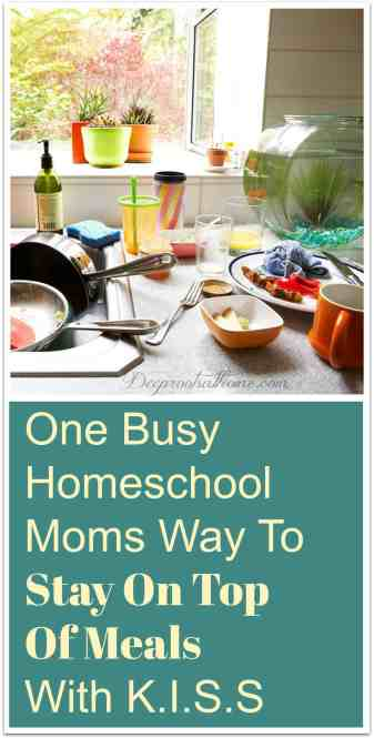 One Busy Homeschooling Mom's Way To Stay On Top Of Meals With K.I.S.S., mealtime, stress, grocery industry, people don't cook anymore, love to cook, hate to cook, meal planning ideas, meal clean up, like to cook sometimes, stay at home mom, SAHM, cleaning, teaching, managing the home, home management, large family dynamics, one of those days, husband, understanding, married, with children, grocery lists, budget, creative, family, nurse, shopping, one room school house, zoo, daily schedule, keep it simple stupid, KISS, breakfasts, lunch, dinner, supper, simplify, budget-friendly meals, menu,