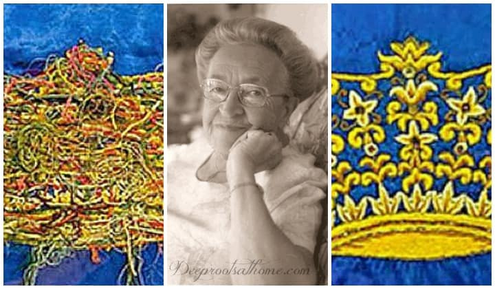 Corrie Ten Boom's Piece Of Embroidery: Knots & A Crown, right side, wrong side, messy side, back side, tangled threads, mistakes, prayers, God says no, chaos, beautiful picture, cloth, eternal life, stitched, stitching, knotted, faith, gold threads, silver threads, pearls, events, God is in control, sovereign, Betsy ten Boom, story of WWII, shrapnel, dogfights, fire in sky, planes fighting overhead, The Hiding Place, weaving, lives, nothing happens by accident, tapestry poem