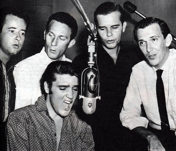 The Jordanaires (from left: Gordon Stoker, Hoyt Hawkins, Neil Matthews and Hugh Jarrett) in the studio with Elvis. (Country Music Hall of Fame/AP Photo)