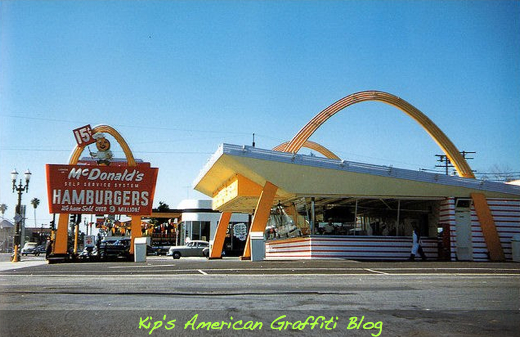 Mels Drive-Ins with carhop service were pushed out of business by fast-food chains such as McDonalds. (photo from 1962)