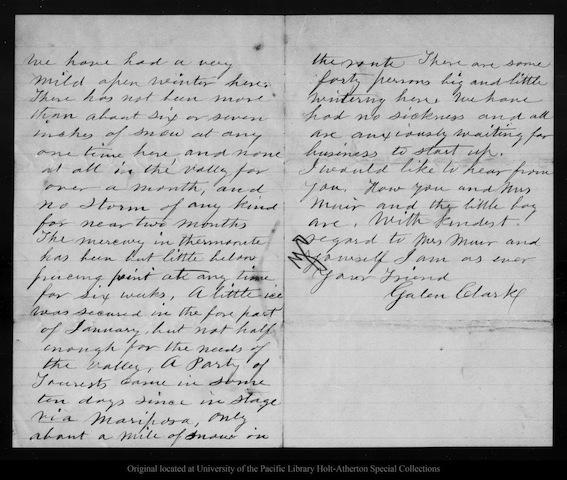 A letter from Galen Clark to John Muir