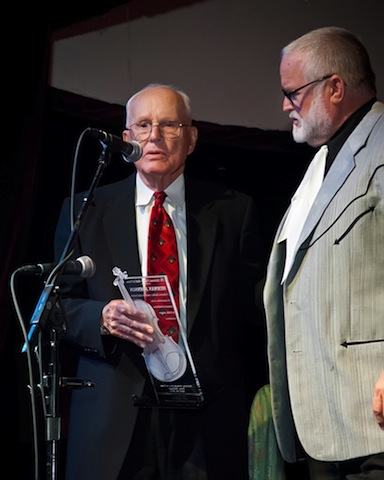 Herman Johnson (left) at his 2012 National Fiddler Hall of Fame induction: '…when it came to smooth, clean fiddle playing with flawless technique, perfect intonation and rhythmic feel and, most importantly, some gorgeous renditions he composed of traditional breakdowns, waltzes and rags, there was no one better than Herman Johnson in a fiddle contest,' says Mark O'Connor.