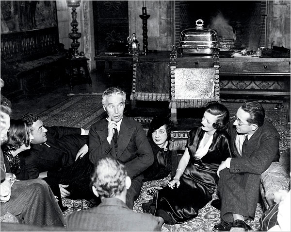 Charlie entertaining guests at Hearst Castle in an undated photograph
