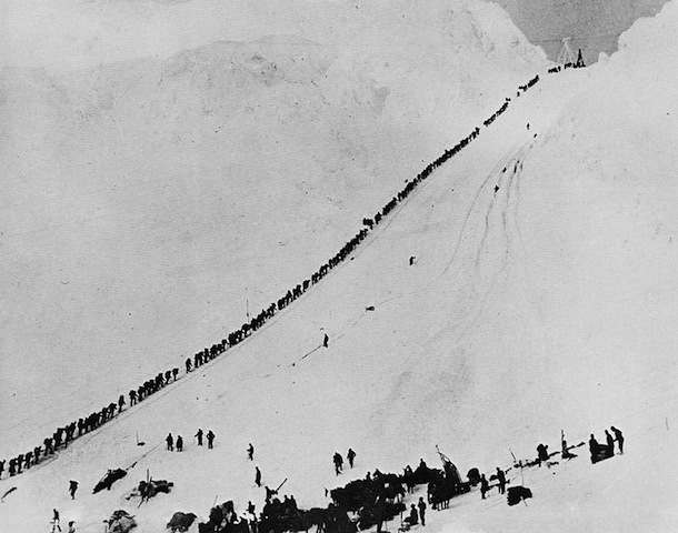 An image of miners climbing the Chilkoot Pass during the Klondike gold rush, 1898, similar to the 1896 image Chaplin saw that inspired the idea for The Gold Rush