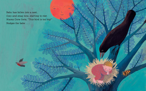 'Baby has fallen into a nest,/Cozy and snug now, starting to rest./Mama Crow frets, 'This bird is too big!'/Nudges the babe …' (Click to enlarge spread)