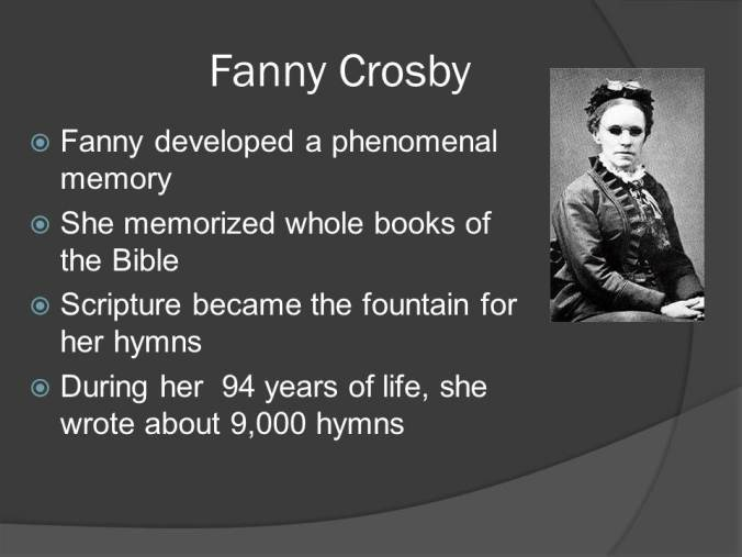 Waxing the Gospel: Mass Evangelism and the Phonograph, 1890-1900 includes the first and only recording made by blind hymn-writer Fanny Crosby, the woman responsible for approximately one-fifth of all American hymn texts of the 19th century.