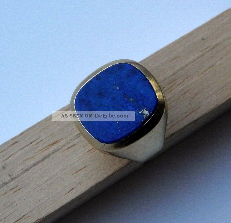 Gold  Ring 585 Mit Lapis Lazuli Stein  Herren  Gestempelt  Gelbgold  Ca 7 Gr