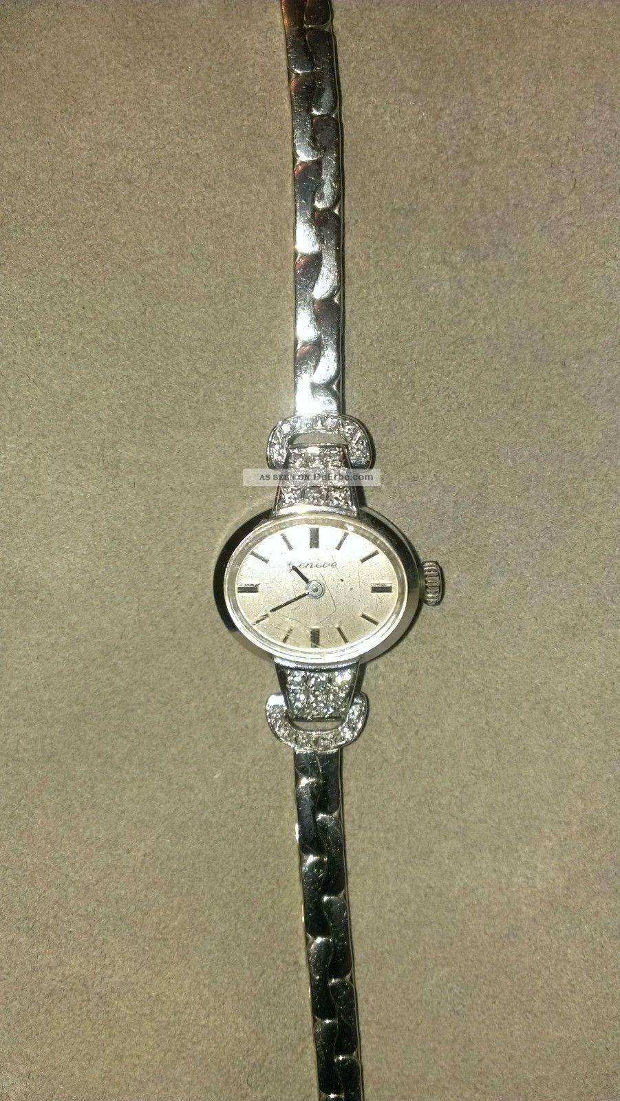 Echtes 585 Weigold 30 Brillanten Echt Gold 1959 J Damen Uhr Zertifikat Jeneve