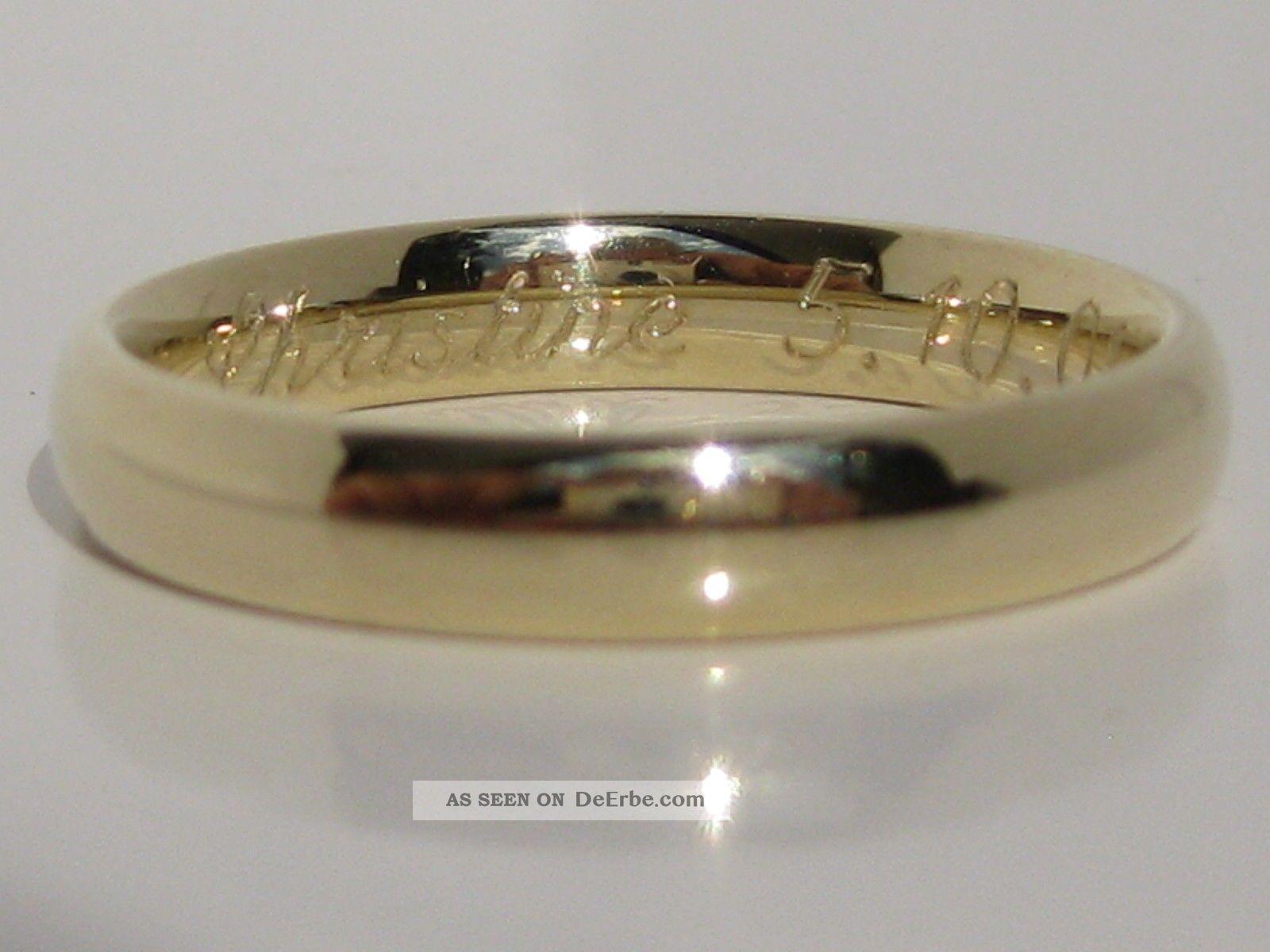 585 Gelbgold Trauring Goldring Graviert 14 Karat Gold