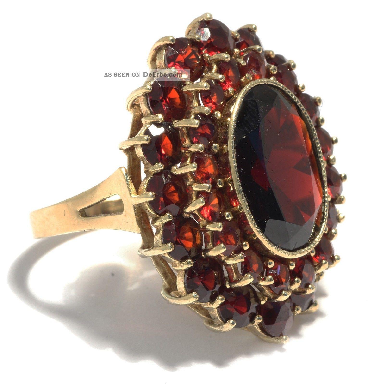 Riesig Antiker Groer Granat Ring Gold Antique Garnet