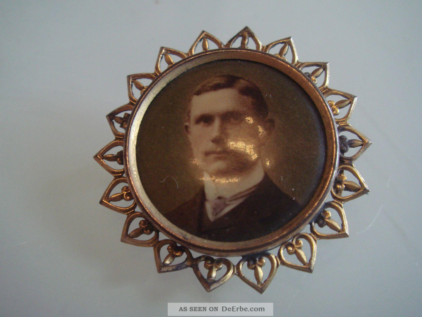 Antike Jugendstil Art Nouveau Brosche Photo Medaillon Aus Schaumgold Unikat